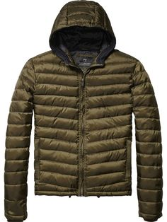 BNWT Mens Scotch and Soda Olive Quilted Basic Hooded Jacket