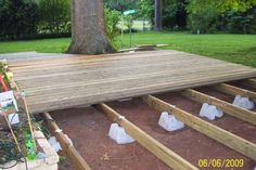Floating Deck Ideas They sell the supports at Lowes and Home Depot fairly cheap. Boardwalk patio under cherry tree Backyard Projects, Outdoor Projects, Backyard Patio, Small Backyard Decks, Patio Roof, Small Patio, Outside Living, Outdoor Living, Outdoor Gardens