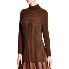 Lafayette 148 New York Cashmere Ribbed Turtleneck Sweater ($269) ❤ liked on Polyvore featuring tops, sweaters, chestnut, chunky turtleneck sweater, cashmere sweater, brown cashmere sweater, cashmere turtleneck and brown tops