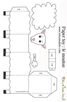 Sheep to print to make a paper toy on - Top Paper Crafts Eid Crafts, Ramadan Crafts, Bible Crafts, Easter Crafts, Sheep Template, Lamb Craft, Art For Kids, Crafts For Kids, Sheep Crafts