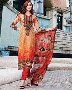 Orange   outstanding Embroidered Pure Cotton Salwar Kameez (Semi Stitched)       Fabric:   Pure Cotton       Work:   Embroidered       Type:   Salwar Kameez (Semi   Stitched)       Color:   Orange                 Fabric Top   Pure Cotton       Fa