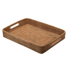 Kouboo's Rectangular Serving Tray is Made of Rattan and has Two Cut-Out Handles Making Carrying Dinner or Breakfast in Bed to Your Loved One Easy. Ottoman Tray, Coffee Table Tray, Rooms For Rent, Metal Mirror, Honey Brown, Vanity Tray, Wood Tray, Breakfast In Bed, Tray Decor