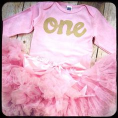 Big Pink Fluffy pettiskirt tutu with pink long sleeve gold glitter one onesie- girls 1st girls first birthday outfit