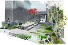 LPC Warehouse Pocket Park -this one reminds me of paily park, in New York -This was probably done using autocad and photoshop -I really like the graphics in this one, it makes it feel as if I am actually sitting in the park Landscape Architecture Drawing, Architecture Collage, Architecture Graphics, Landscape Drawings, Architecture Portfolio, Cool Landscapes, Architecture Design, Landscape Architects, Photomontage