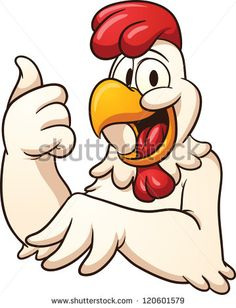 Happy cartoon chicken. Vector clip art illustration with simple gradients. All in a single layer. - stock vector