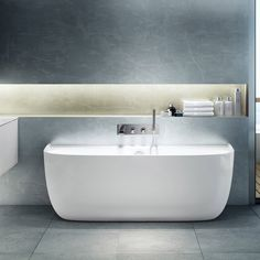 Eldon is the creation of leading British Architecture and Interior Design Studio, Conran + Partners, who have applied their expertise learned through designing some of the world's top hotels and residences. The contemporary back-to-wall bath is endowed with the curvaceous lines of a freestanding bath. A full width ta