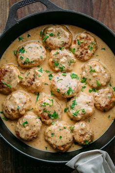 Chicken Meatballs in a Cream Sauce   natashaskitchen.com