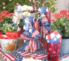 """Getting ready for a Blast on the Fourth of July - 10"""" Wooden Firecracker Set"""