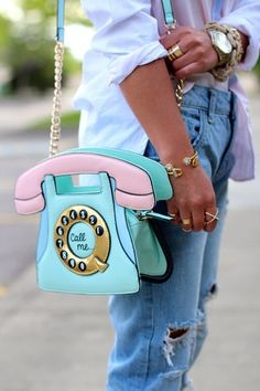 Cool Spring Summer Bag Trends Multicoloured Pastel Coloured Old-Style Phone Bag Turquoise Blue Green And Pink With Chain Detail Strap