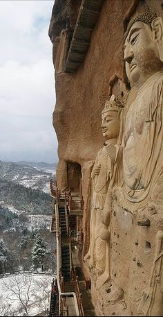 The Maijishan Grottoes are a series of 194 caves cut in the side of the hill of Majishan, Gansu Province, China; over 7,200 Buddhist sculptures are cut from the rock with over 1,000 square meters of murals. Construction began ca. 384-417 CE.  One of the string of Buddhist grottoes found in this area, lying on the crossroads connecting China and Central Asia; several of the sculptures appear to have Indian—and even SE Asian—features that could have come north via these N-S routes.