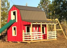 wooden barn playhouse plan with slide and swings #playhousebuildingplans #kidsplayhouseplans #diyplayhouse #buildachildrensplayhouse