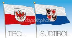 Flag di Tirol e sudtirol, Austria e Italia — Vettoriali Stock © frizio…