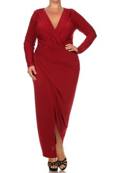 be94ff0342 Plus Size Surplice Long Sleeve Maxi Dress – PLUSSIZEFIX Trendy Plus Size  Fashion