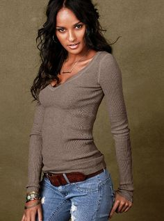 Cotton Thermal V-neck Sweater