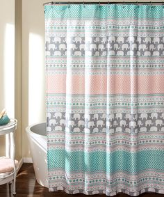 Another great find on #zulily! Turquoise & Pink Elephant Stripe Shower Curtain #zulilyfinds