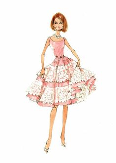 Robert Best sketch of Southern Belle Silkstone Barbie 2009 BFMC
