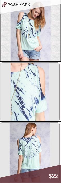 New ListingTie Dye Cold Shoulder Tee Awesome summer top! Lightweight material 70% cotton, 30% rayon. Fit is loose but true to size. Worn gently, no flaws. Trades Holds Tops Tees - Short Sleeve