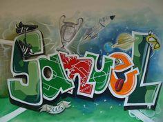 Muurschildering graffiti naam jongenskamer