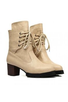 $31.99 Faux Leather Upper Lace Up Closure Chunky Heel Boots