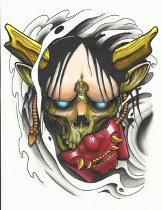 Hannya Mask tattoo design colour first draft