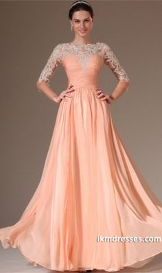 2015 Round Neckline 3/4 Length Sleeve Prom Dress Ruched Bodice A Line Floor Length With Appliqeu Chiffonhttp://www.ikmdresses.com/2014-Round-Neckline-3-4-Length-Sleeve-Prom-Dress-Ruched-Bodice-A-Line-Floor-Length-With-Appliqeu-Chiffon-p84364