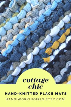 Cottage Chic Place Mats (set of 2) (12 inches by 16 inches): https://www.etsy.com/listing/107006411/cottage-chic-placemats-knitted-upcycled