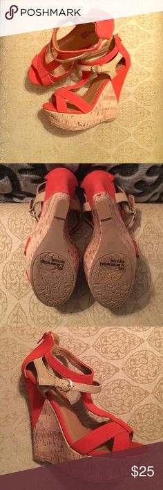 Orange/Tan Wedge Orange and tan wedge with about a 5 inch cork heel. Shoes are in great condition! Bought for a wedding I was in and I only had them on to walk down the aisle and back! 😃 Charlotte Russe Shoes Wedges