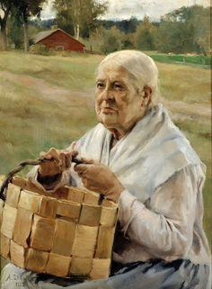 Albert Edelfelt (1854–1905):  'Old Woman with a Splint Basket', 1882