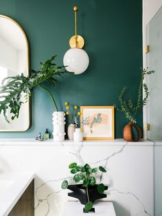 Prepare your retinas - this eye-catching master bathroom makeover .Prepare your retinas - this eye-catching master bathroom makeover is . - Prepare your retinas - this eye-catching master bathroom makeover is breathtaking - notice prepar Bad Inspiration, Bathroom Inspiration, Bathroom Ideas, Bathroom Green, Budget Bathroom, Bathroom Trends, Bathroom Mirrors, Art For The Bathroom, White Bathroom