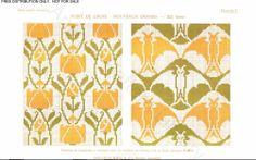 D.M.C. Point de Croix Nouveaux Dessins 2me Série, page 5, c. 1905. More stunning art nouveau and Provençale charted cross-stitch designs. All-over patterns, floral and bats, yellow and green