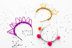 DIY, Pipe Cleaner Party Crowns for New Year's Eve, #NYE #Party #Partyhats
