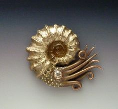 Gordon Uyehara Bronze and Copper Ammonite Pendant