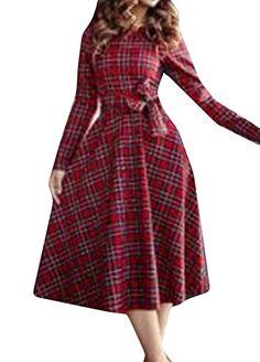 Honey GD Women's Outwear Lattice Slim Fit Outdoors Waist Dress Red M