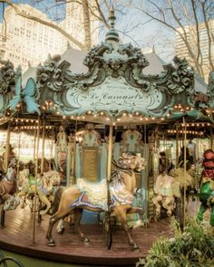 Bryant Park Carrousel photo nyc new york city dreamy horse pastel tones dreamy nostalgic shabby chic City Library, Bryant Park, Painted Pony, Merry Go Round, Carousel Horses, Thing 1, Holiday Sales, Large Prints, New York City
