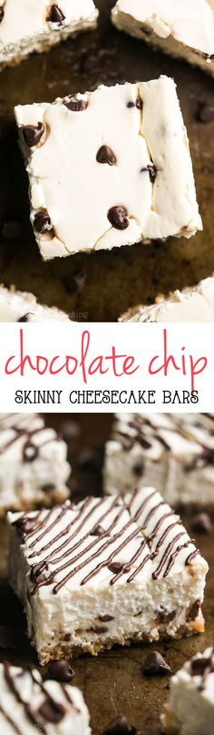 Skinny Chocolate Chip Cheesecake Bars -- a super easy, fail-proof recipe! Packed with 5g+ of protein & practically healthy enough for breakfast!