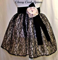 Half Apron Sheer Sexy Black Lace & Frosted Pink Organza by ClassyCookAprons, $32.50