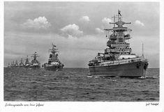 German Deutschland-class heavy cruiser, Admiral Graf Spee leading a fleet of Kriegsmarine ships...!
