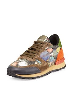 Butterfly Camouflage Rockstud Sneaker by Valentino at Neiman Marcus.