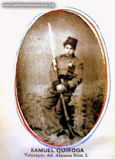 Samuel Quiroga. Adolescente, voluntario del Batallón Atacama N° 1. sin información respecto a grado y combates en los que participó. Fuente: www. batallonesdeatacama.org