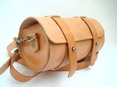 Handstitched Leather Round Pouch  Natural Veg by leathermind, $139.00