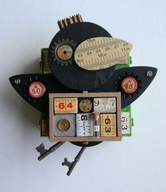 """Crow (Numbers)"" -Recycled art collage    www.etsy.com/shop/redhardwick"