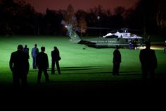 Marine One, carrying President Barack Obama and First Lady Michelle Obama, lands at…