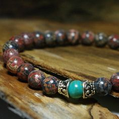 "Shaman Meditation Beaded Stretch Bohemian Bracelet - Men's 8 1/2"" Gemstone Bracelet by Angelof2, $25.00"