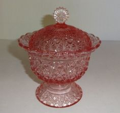 """Vintage Pink Depression Glass """"Daisy and Button"""" Covered Candy Dish . Antique Dishes, Vintage Dishes, Antique Glass, Fenton Glassware, Vintage Glassware, Glass Dishes, Candy Dishes, Pink Depression Glassware, Pink Dishes"""