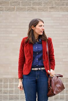 Proper Polka Dots | Style On Target | red blazer, navy and white polka dots
