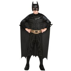 Batman Dark Knight Batman Child Costume - Includes: Jumpsuit with attached boot tops, headpiece, cape and belt. This is an officially licensed Batman costume.