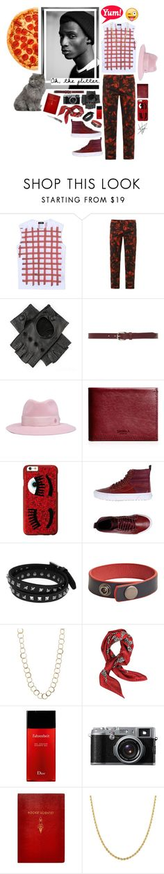 """pizza time!"" by whimsical-angst ❤ liked on Polyvore featuring Raf Simons, McQ by Alexander McQueen, Black, Isabel Marant, Maison Michel, Shinola, Chiara Ferragni, Vans, Valentino and MANGO"