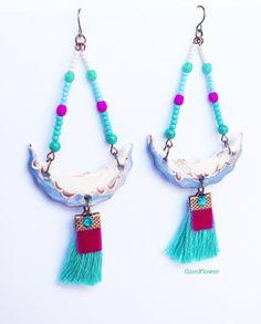Ethnic ceramic dangle earrings Gypsy style jewelry by chezviolette