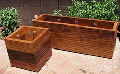 Modern Mahogany Planter Boxes Free Shipping by MidCenturyWoodShop