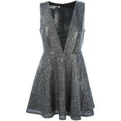 McQ Alexander McQueen Sequin Droplet Dress ($695) ❤ liked on Polyvore featuring dresses, metallic, flare dress, short sleeveless dress, sleeveless cocktail dress, deep v neck cocktail dress and short flare dress